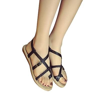 84f581259d36ca Fullkang Women Bohemia Bandage Clip Toe Herringbone Sandals Beach Flat Shoes  (US 5.5