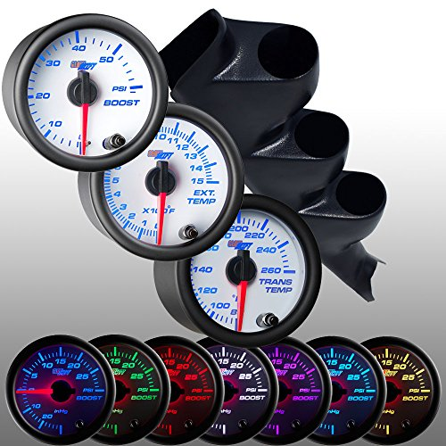 White Face Gauge Package (GlowShift 2000-2006 Chevy Duramax Diesel Gauge Package White Face Boost, EGT & Trans Temp)