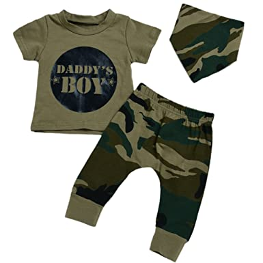 4fcb15f6793a1 Comcrib Toddler Baby Girls Boys Clothing Sets, Newborn Camo Clothes 3 Pcs Camouflage  Outfits T-Shirt Tops+Pants+Headband: Amazon.co.uk: Clothing