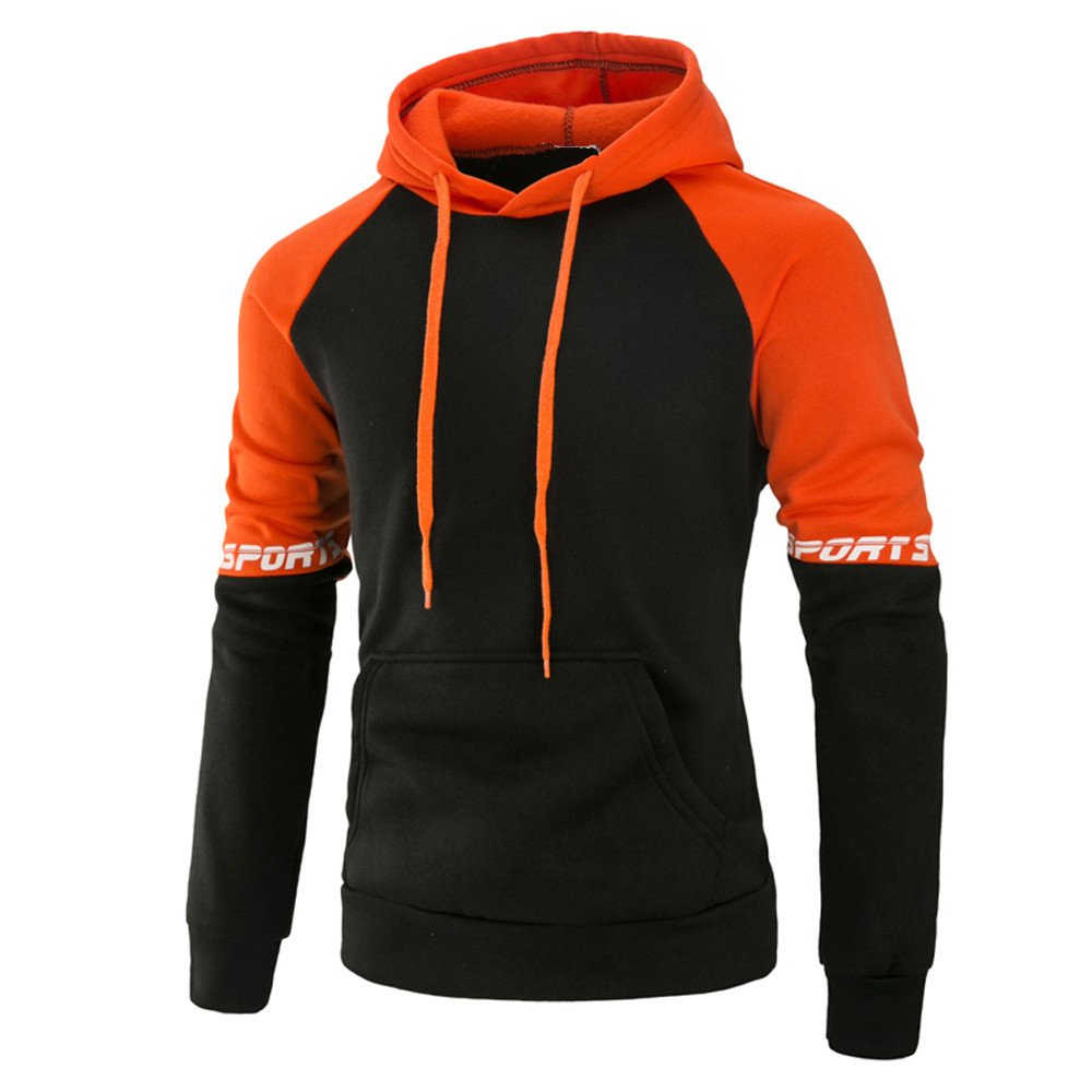 Sweatshirt For Men,Clearance Sale-Farjing Men's Long Sleeve Patchwork Hoodie Hooded Sweatshirt Tops Jacket Coat Outwear(XL,Orange )