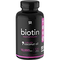 Biotin (10,000mcg) with Organic Coconut Oil | Supports Healthy Hair, Skin & Nails...
