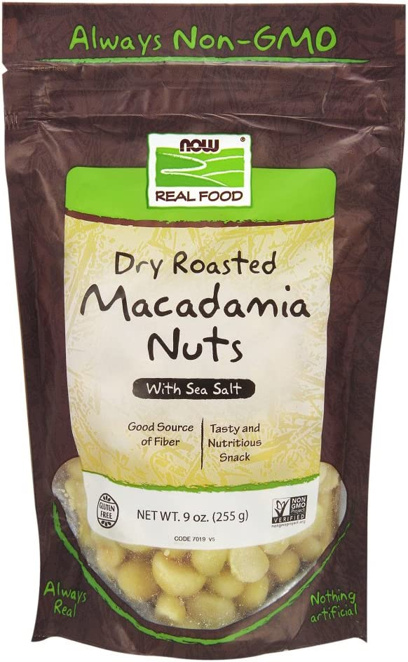 B005BRY84G NOW Foods, Macadamia Nuts, Dry Roasted with Sea Salt, Source of Fiber, Gluten-Free and Certified Non-GMO, 9-Ounce (Packaging may vary) 61tfDNBA0WL
