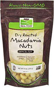NOW Foods, Macadamia Nuts, Dry Roasted with Sea Salt, Source of Fiber, Gluten-Free and Certified Non-GMO, 9-Ounce (Packaging may vary)