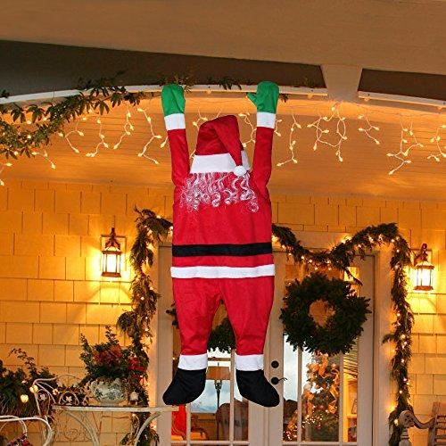 LAOSSC-Outdoor Decor Santa Hanging From Gutter - Outdoor Christmas Decoration Yard decorations Santa Suit 65 Inches Christmas Yard Decorations