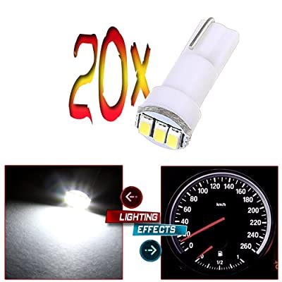 20x T5 17 74 73 3-3014SMD Instrument Gauge Dash Indicator LED Light Bulbs (White): Automotive