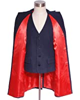 Men's Blue-black Overcoat And Waistcoat for Doctor Halloween Costumes 2 In 1