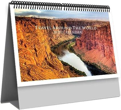 2020 Bloc De Notas del Calendario De Escritorio Simple Viaje Alrededor del Mundo Natural Paisaje del Calendario De Escritorio Calendario Mensual Geografía Global Creativa (Color : Gris): Amazon.es: Electrónica
