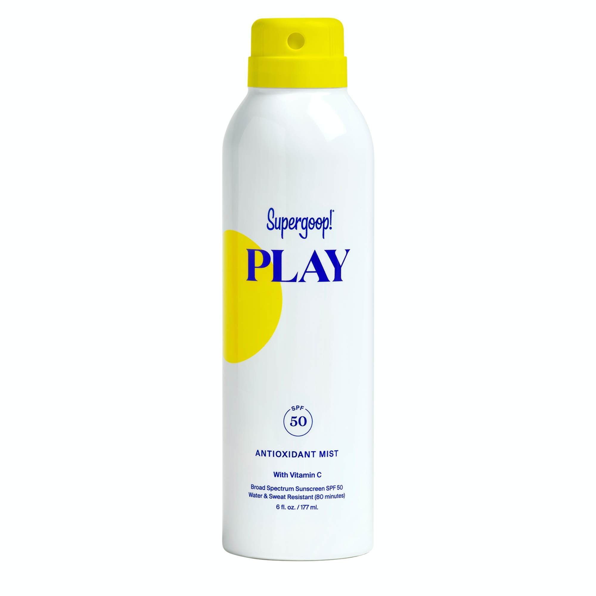 Supergoop! PLAY Antioxidant-Infused Body Mist w/Vitamin C, 6 fl oz - SPF 50 PA++++ Reef-Safe, Broad Spectrum Sunscreen - Body Spray for Sensitive Skin - Clean Ingredients - Great for Active Days