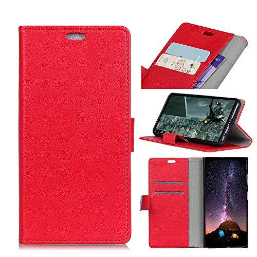 Funda OnePlus 5T [Happon] Ranuras para Tarjetas y Billetera Carcasa PU Libro de Cuero Flip Leather Cierre Magnético Soporte Plegable para OnePlus 5T (Naranja) Rojo