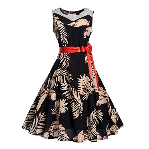 8417ab03e Amazon.com: 2019 Newest Women Vintage 1950s Retro Sleeveless O-Neck  Printing Halter Evening Party Prom Swing Dress: Clothing
