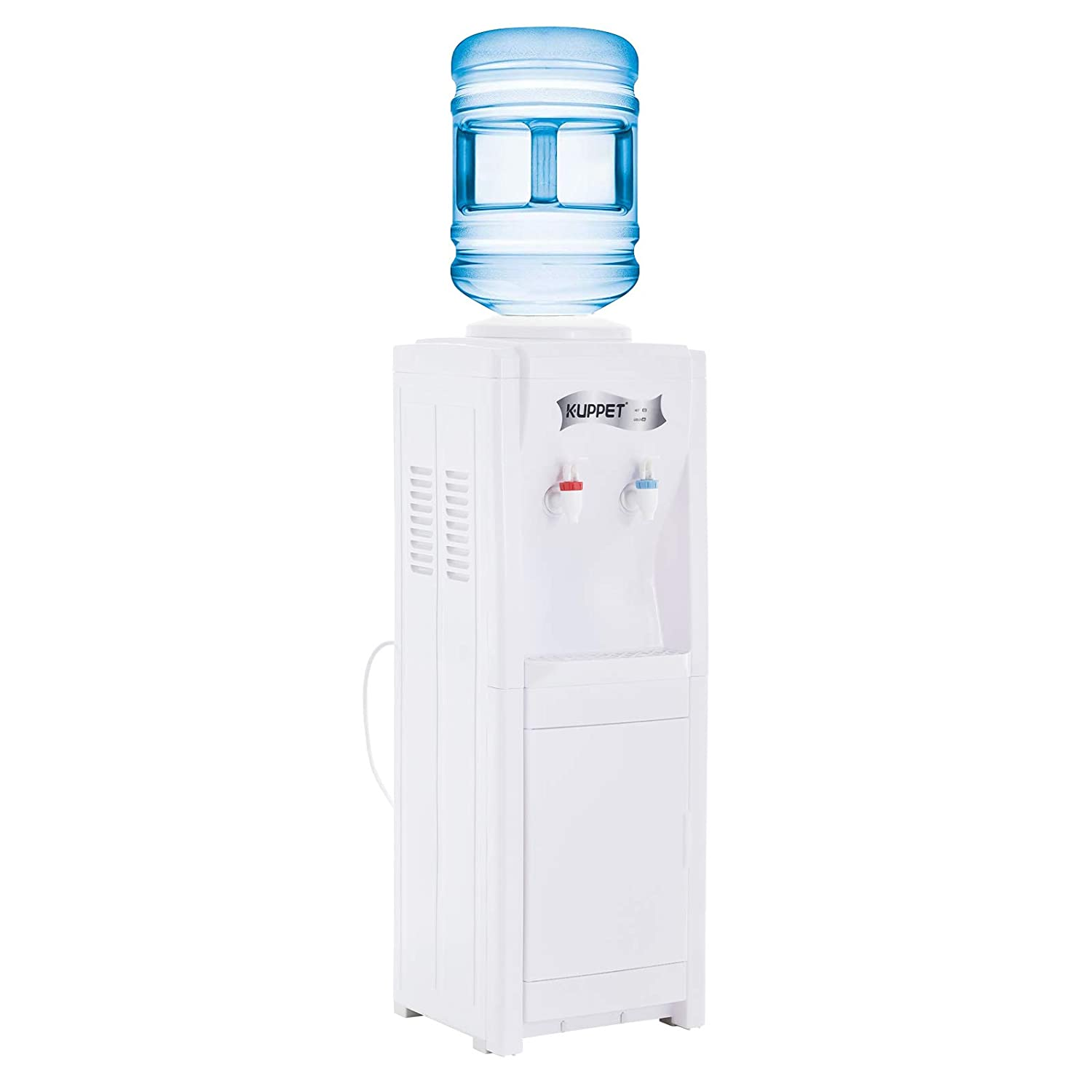 KUPPET Water Dispenser Top Loading Freestanding With Storage Cabinet, Water Coolers, Two Temperature, Hot(185℉-203℉), Normal Temperature(50℉-59℉),3-5 Gallon (32'', White)