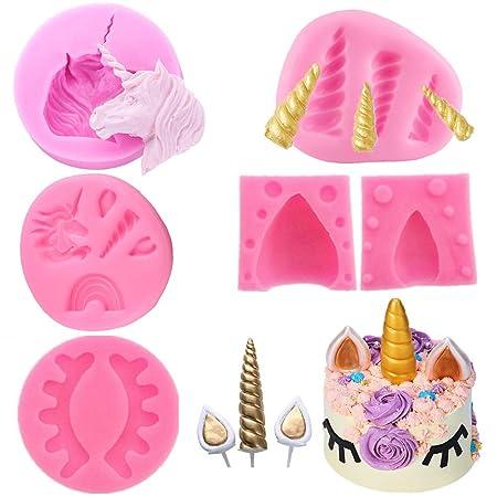 Delibest 6 moldes de unicornio, mini molde de silicona para ...