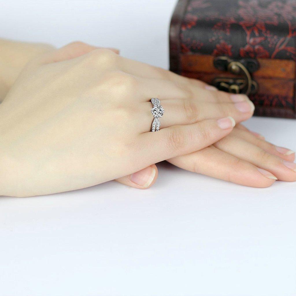 (compromiso anillos) Adisaer plateado anillos para las mujeres boda bandas circonitas: Amazon.es: Joyería