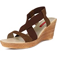 SOLES Women's Brown Synthetic Fashion Wedges