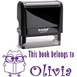 Purple Ink, Personalized Owl with Glasses and Book Self Inking Stamp. This Book Belongs To Kid's Stamper. Customized Library Book Labels. Unique Stamping Gift for Students or Teachers.