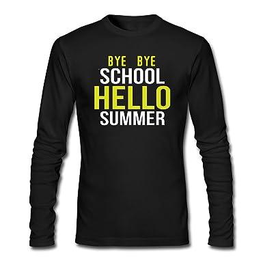 ZWEN Menu0027s Bye Bye School Hello Summer Long Sleeve T Shirt