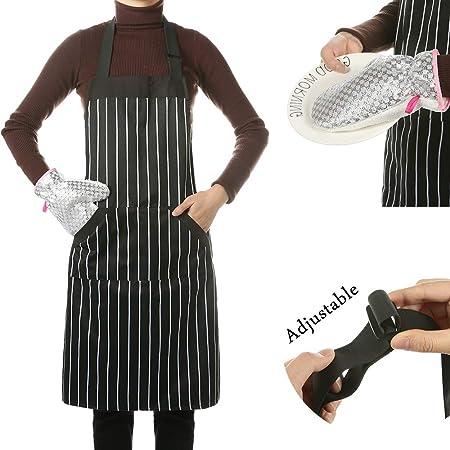Simpleme Delantal de cocina ajustable, con bolsillo para mujeres ...