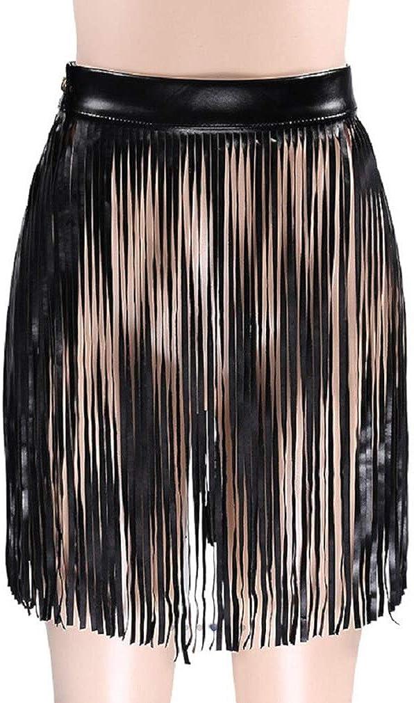 Fenyong Leather Fringe Skirt Tassel Hip Scarf Summer Beach Belts for Women Black