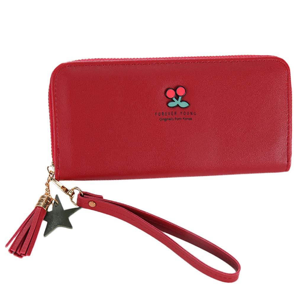 5d230af4de6073 LABIUO Frauen Lange Brieftasche Ledertasche Große Kapazität Brieftasche  Quaste Reißverschluss Damen Handtasche mit Handschlaufe Kartensteckplätze  Handy