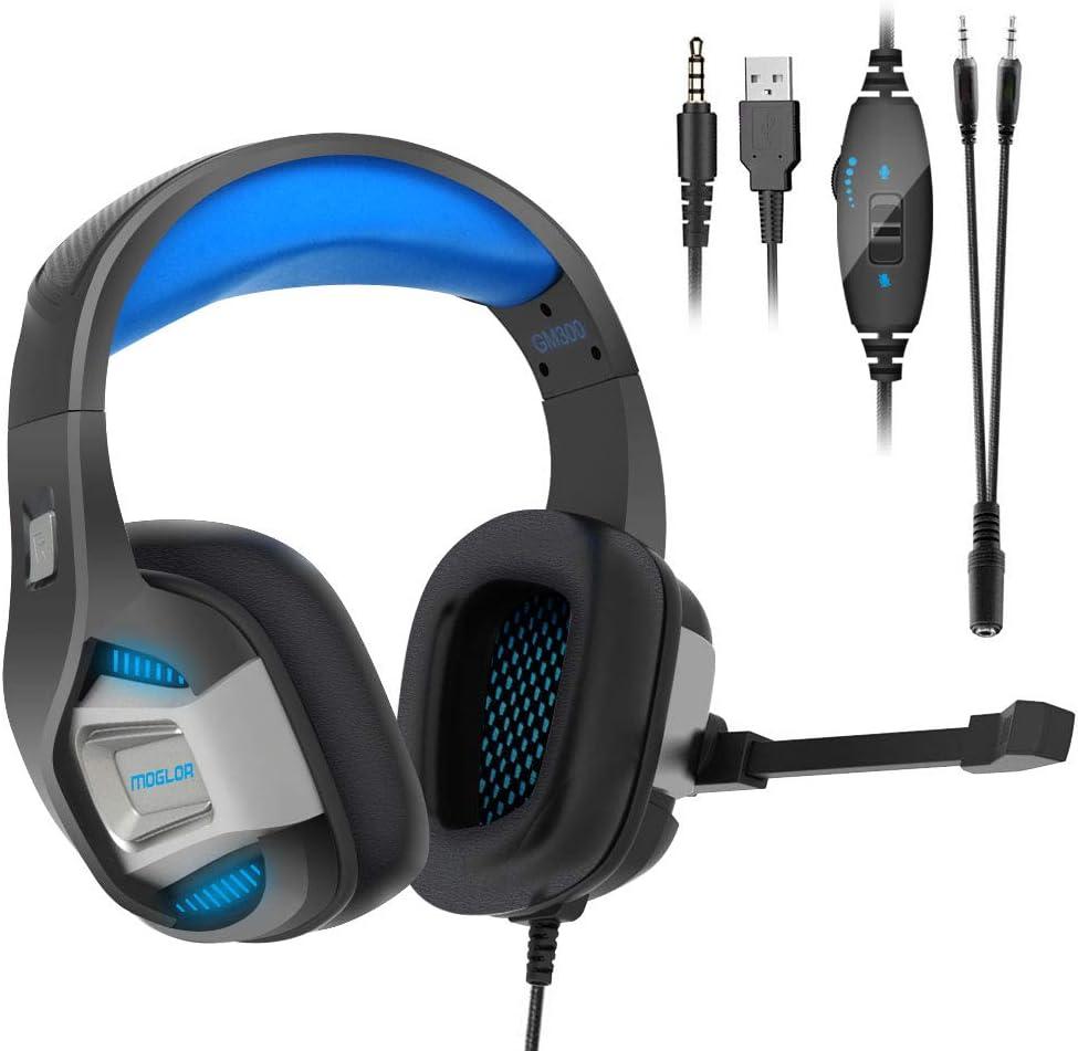 Cuffie Gaming PS4 PC Antirumore Over Ear con Microfono Xbox One 7.1 Bass Stereo Suono Surround virtuale 3.5mm Jack Regolabile e Retrattile per Nintendo Switch, Mac, Laptop, Smartphone (Blue 1)