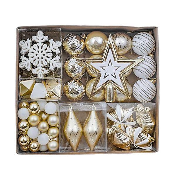 Valery Madelyn Palle di Natale 90 Pezzi di Palline di Natale, 3-10 cm Eleganti Ornamenti di Palla di Natale Infrangibili Bianchi e Oro per la Decorazione Dell'Albero di Natale 1 spesavip