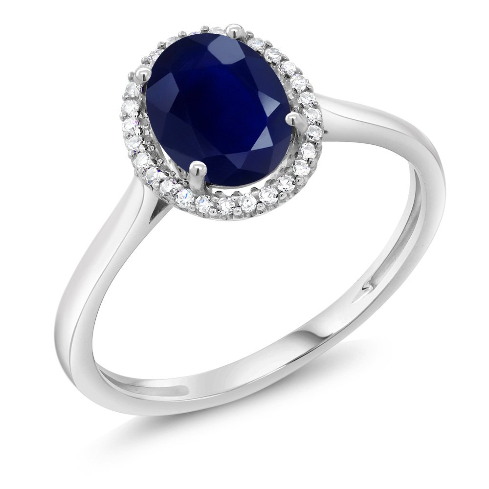 10K White Gold Diamond Halo Engagement Ring set with 1.79 Ct Oval Blue Sapphire (Available in size 5, 6, 7, 8, 9)