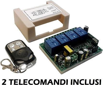 Ricevitore radio 1 Rele 230Volt 2 Trasmettitori A 433MHz telecomando cancelli