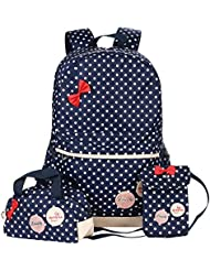 Polka Dot 3pcs Kids Book Bag Purse School Backpack Water Repellent Girls Teen