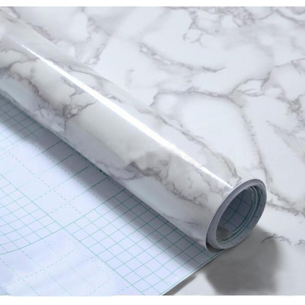 Marble Contact Paper, Gloss Vinyl Film Marble Look Granite White Decorative Roll Self Adhesive Pre-Pasted Wallpaper for Kitchen countertop Bathroom Waterproof Covering 23'' X 78''