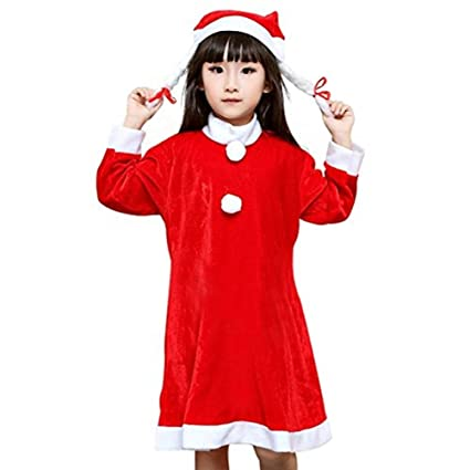 fairyme kids christmas costumes santa claus suit outfit set hat girls