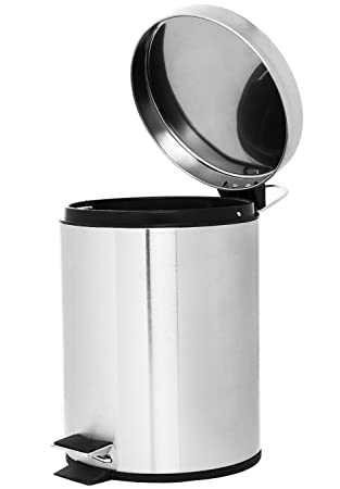 Mini Round Step Trash Can, Stainless Steel, 4.5 L / 1.2 Gal