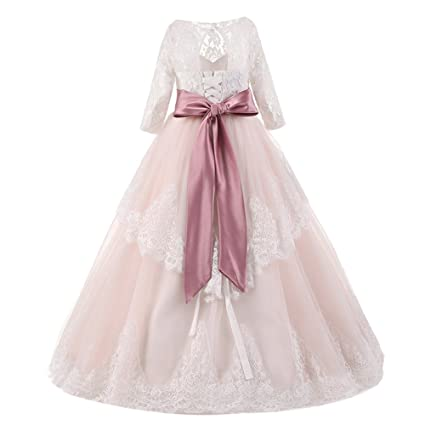 Amazon.com: Flower Girl Long Lace Dresses for Kids Princess Wedding Bridesmaid Party Ball Gown Summer Pageant Maxi Tulle Dress 2-13: Clothing