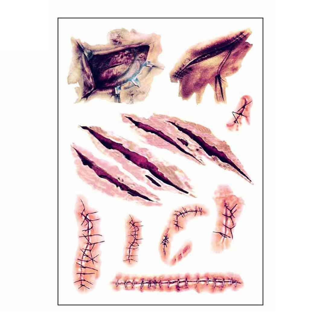 12 Hojas Tatuajes Temporales Halloween Zombie Cicatrices Tatuajes Pegatinas con Falso Scab Sangre Especial Mascarada Accesorios de Maquillaje Prank (12 Hojas pequeña) eiito