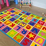 PR's Kids / Baby Room Area Rug. Letters and Numbers with Vibrant Colors and Shapes (8 Ft X 10 Ft)