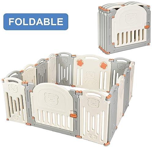 Costzon Baby Playpen, 14-Panel Foldable Kids Safety Activity Center Playard