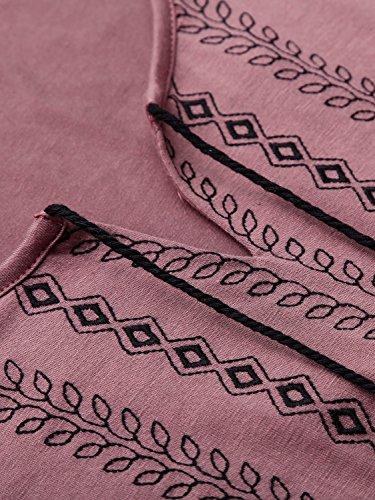 DJT-Vestido para Mujer con Cordon Mangas Largas Rosa