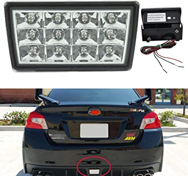 with Wire Harness /& Mounting Bracket iJDMTOY Clear Lens w//Black Housing F1 Style Strobe//Flashing Tail//Brake LED Rear Fog Light Kit Compatible With 2011-2021 Subaru Impreza//WRX STi or XV Crosstrek