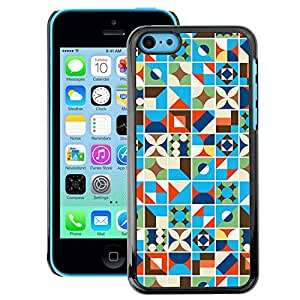 A-type Arte & diseño plástico duro Fundas Cover Cubre Hard Case Cover para iPhone 5C (Blue Blanket Pattern Lines)