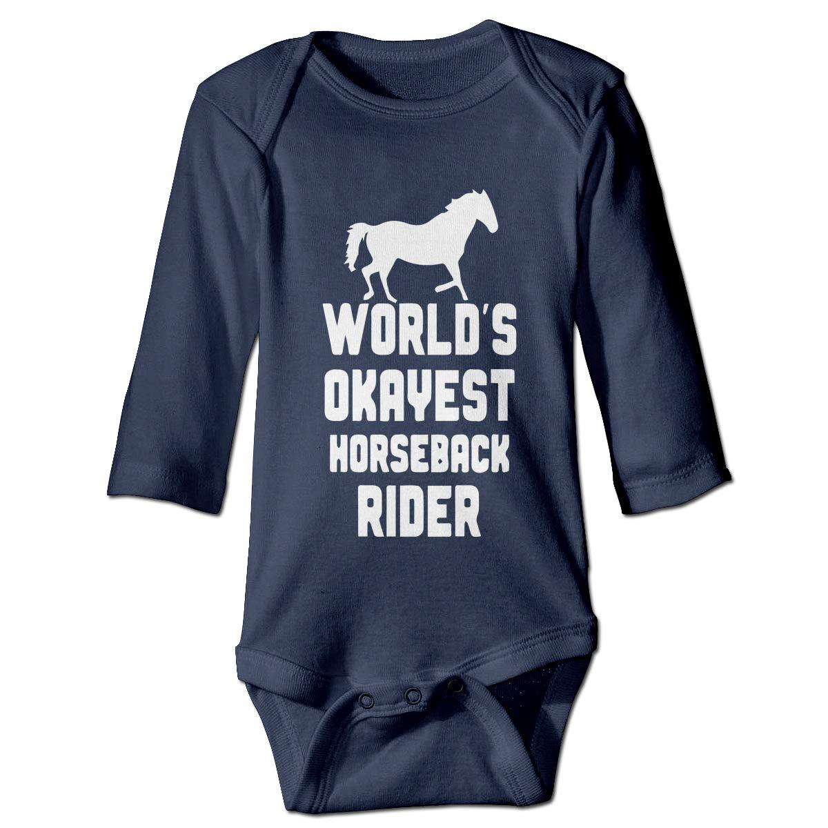 Newborn Infant Baby Girls Boys Romper Bodysuit Infant Worlds Okayest Horseback Rider Long Sleeve Funny Romper Bodysuit
