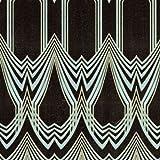 16001RC - Roberto Cavalli 5 Geometric Shapes Black Turquoise Wallpaper