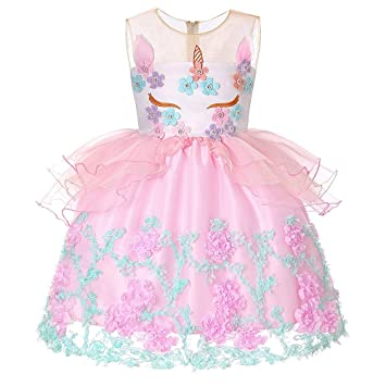 Xiao Jian- Traje de Fiesta - Unicornio Vestido de niña Rosa ...