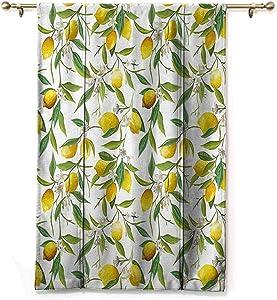 Nature Tie-Up Shade Curtain Flowering Lemon Woody Plant Romance Habitat Citrus Fresh Background Improve Sleep Fern Green Yellow White W48 x L64 Inch