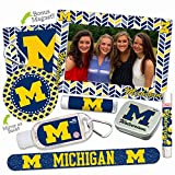 Michigan Wolverines Deluxe Variety Set with Nail File, Mint Tin, Mini Mirror, Magnet Frame, Lip Shimmer, Lip Balm, Sanitizer. NCAA Gifts and Gear for Women, Mother's Day