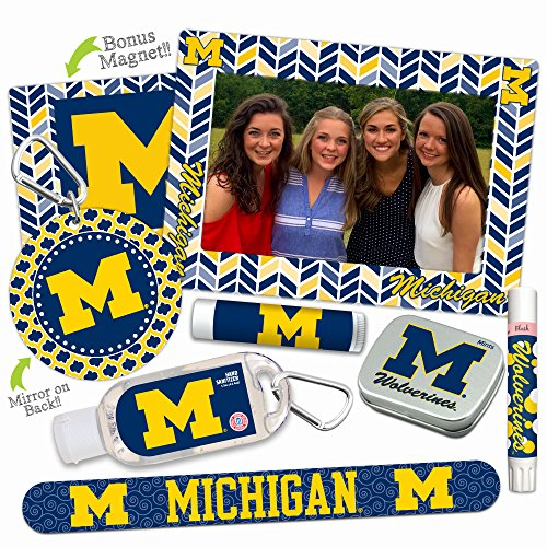 Mother's Day Deal—Michigan Wolverines Deluxe Variety Set with Nail File, Mint Tin, Mini Mirror, Magnet Frame, Lip Shimmer, Lip Balm, Sanitizer. NCAA Gifts and Gear for Women, Mother's (Michigan Mirror)