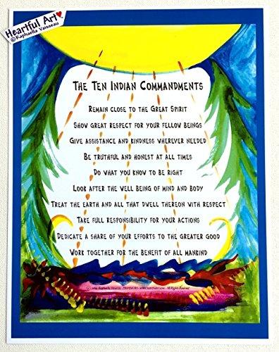 Ten Indian Commandments 8x11 poster - Heartful Art by Raphaella Vaisseau (Ten Native American Commandments)