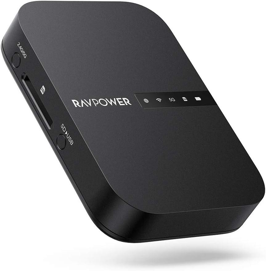 RAVPOWER Filehub Router Portátil WiFi, Amplificador WiFi, Lector de SD, Disco Duro Inalámbrico, Batería Externa 6700mAh, Hotspot, Pendrive USB, Nube Personal Compartir Datos sin PC