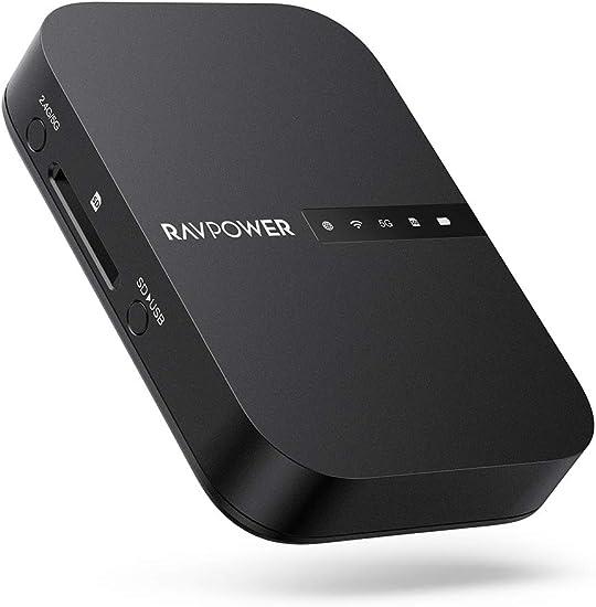 RAVPOWER Filehub Router Portátil WiFi, Amplificador WiFi, Lector de SD, Disco Duro Inalámbrico, Batería Externa 6700mAh, Hotspot, Pendrive USB, Nube ...
