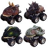 KOBWA Pull Back Dinosaur Cars, 4 Pack Big Tire Wheel Playset Dinosaur Cars Toys for 3-15 Year Old Boys Girls Gifts