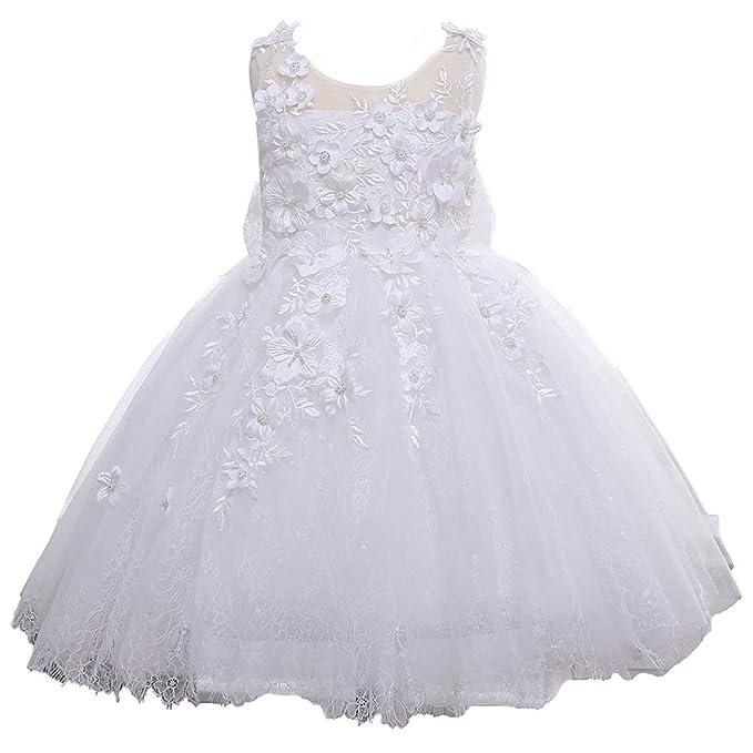 Amazon.com: Vestido de encaje y tul blanco para niña ...