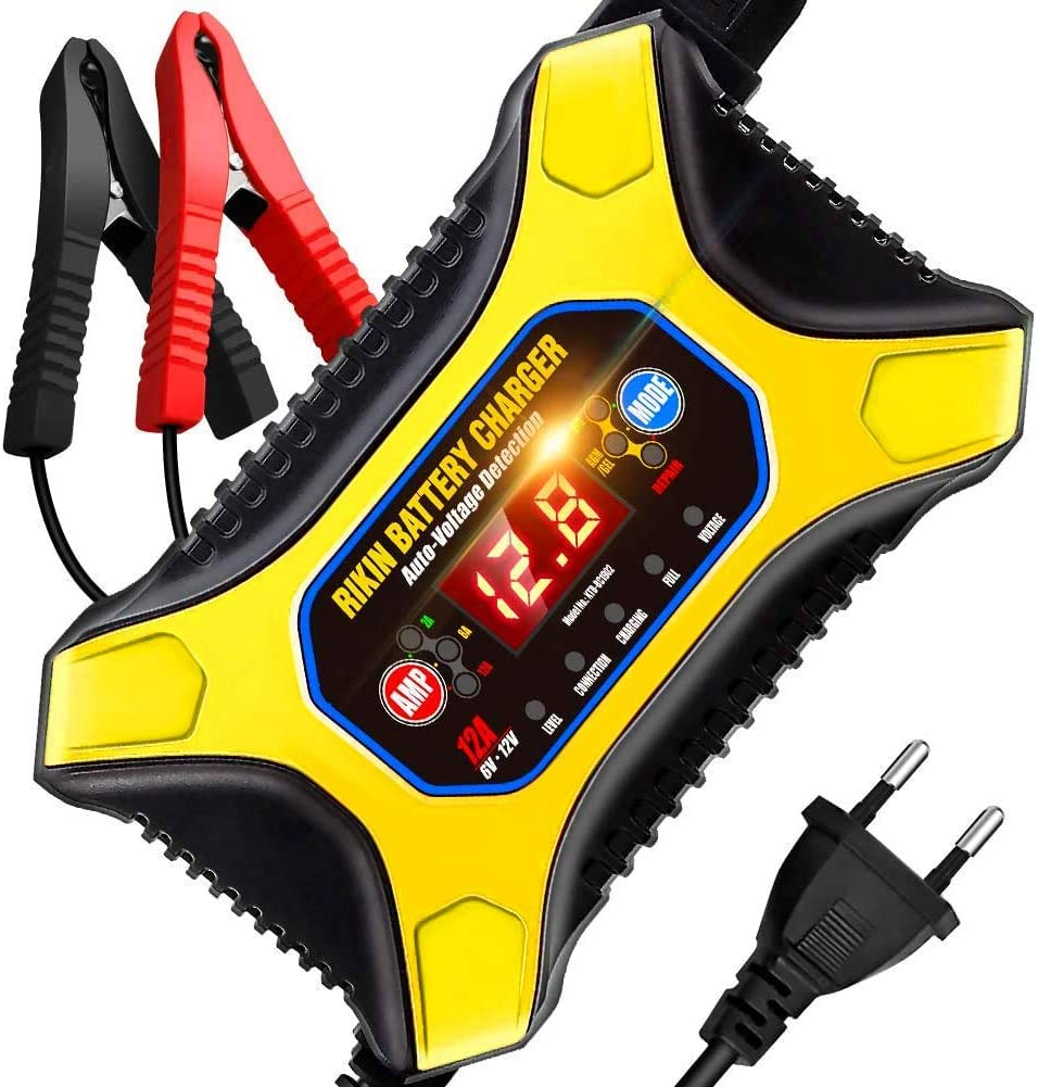 Aokbon Batterie Ladegerät Auto 12a 6v 12v Intelligentes Ladegerät Mit Lcd Bildschirm Geeignet Für Auto Rasenmäher Motorrad Oder Lkw Gelb Auto